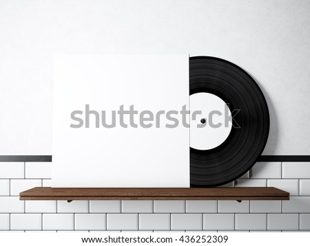 Photo vinyl music album template on stock illustration 436252309 photo vinyl music album template on natural wood bookshelfwhite painted bricks wall background maxwellsz