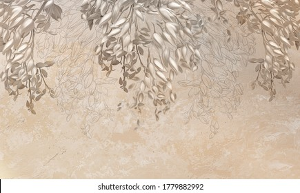 Photo wallpaper, wallpaper, engraving on the wall, in the loft style. Flowers on a beige background. Beautiful patterns on the wall. Photo wallpaper design. Loft design, classic, modern.