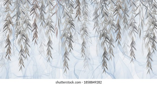 Photo wallpaper, wallpaper, mural design in the loft, classic, modern style. Willow branches on a blue background.