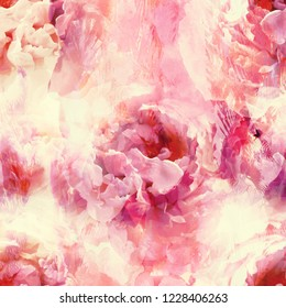 photo and watercolour with acrylic stains vintage seamless pattern with peonies flowers - digital mixed media artwork. endless motif for textile decor and design