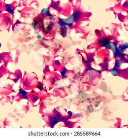 photo and watercolour seamless pattern with flowers - digital artwork