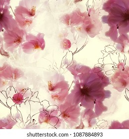 photo and watercolour spring seamless pattern with blossom cherry (sakura) flowers - digital mixed media artwork. background for textile decor and design