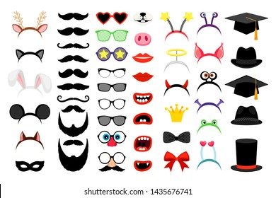 Photobooth party elements. funny face masks and clown nose and glasses, vintage party hats and birthday costume bunny ears isolated on white background