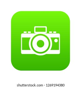 Photocamera icon digital green for any design isolated on white illustration