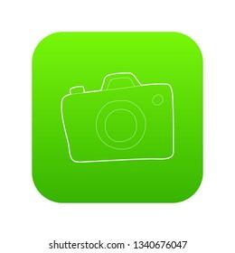 Photocamera icon green isolated on white background