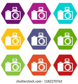 Photocamera icons 9 set coloful isolated on white for web