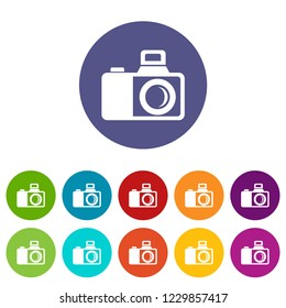 Photocamera icons color set for any web design on white background