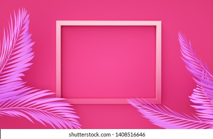 Photoframe background clean 3d render Tropical frame illustration Beautiful Vacation travel image Summer holidays idea
