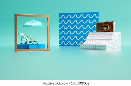 Photoframe camera lounger umbrella idea Wave pattern Blue Vacation hipster accessories 3d render image abstract design composition