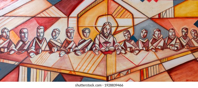 Photograph of an artistic  painting of Jesus Christ and his disciples in last supper