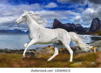 a photograph stylized as painting portrait of a white horse