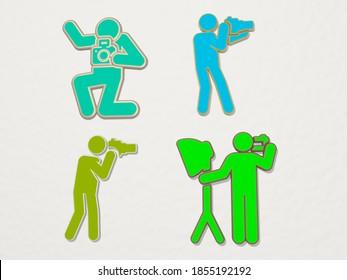 PHOTOGRAPHER 4 icons set, 3D illustration