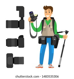 Photographer and high resolution action cameras with lens raster photocameras isolated. Gear with flash and zoom function, photojournalist and tripod