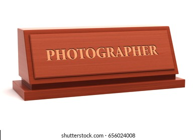 Photographer job title on nameplate. 3d illustration