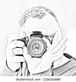 Photographer in self portrait looks through a camera and photographs himself in a mirrow, the image is in pencil drawing Look