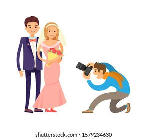 Photographer or videographer taking photo reportage of engagement ceremony. Happy couple on wedding, bride and groom and cameraman raster isolated