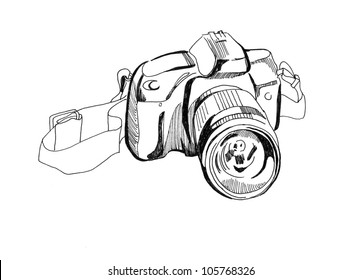 Photographic camera. Sketch.
