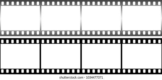 Photographic film in form of frame on white background. Copy space for text