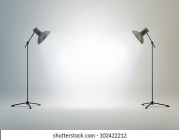 A photography studio with a light set-up and backdrop