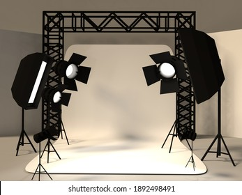 PHOTOGRAPHY AND VIDEO STUDIO WHITE AND BLACK BACKGROUND LIGHT MOCKUP 3D ILLUSTRATION