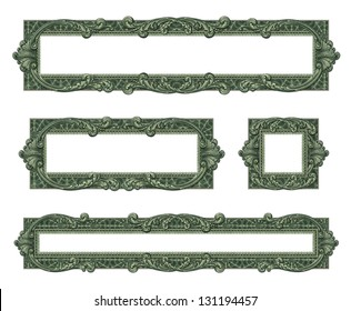Photo-illustration of 4 borders/frames using elements from a dollar bill.