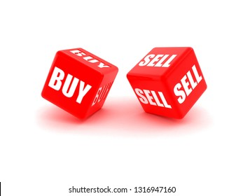 "Photo-real illustration of Two red dice engraved with ""Buy"", ""Sell"". 3D rendering illustration"