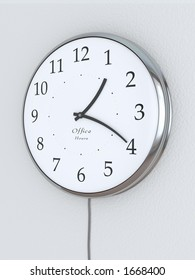 """Photorealistic 3D concept, a clock with bent hour hands, """"Office Hours"""" being written on it. Concept symbolizing flexible hours."""