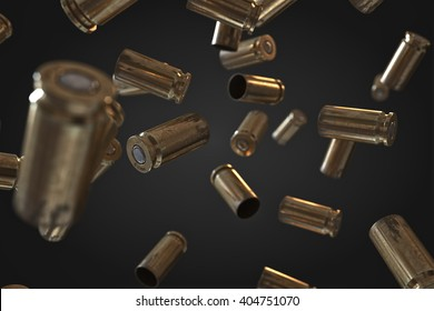 Photorealistic 3D illustration of Flying bullet shells