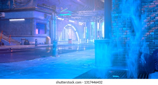 Photorealistic 3d illustration of the futuristic city in the style of cyberpunk. Empty street with neon lights. Beautiful night scene.
