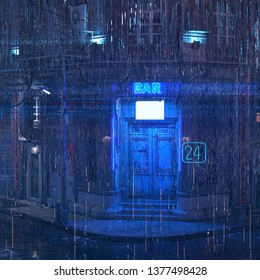 Photorealistic 3d illustration of the futuristic city. Rainy night scene. Wallpaper in the style of cyberpunk. Bar with closed doors and a luminous neon sign. Grunge cityscape.