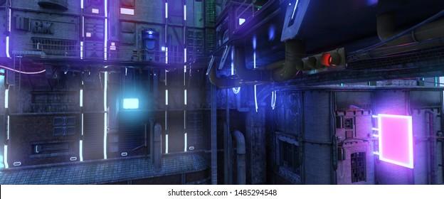 Photorealistic 3d illustration of a futuristic city in a cyberpunk style. Bright neon night. Futuristic industrial cityscape.