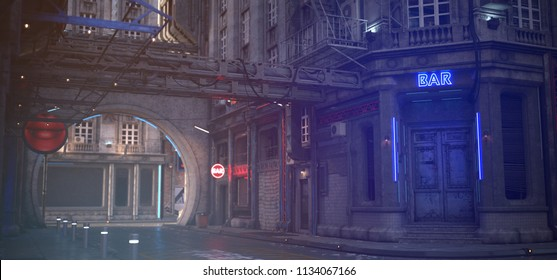 Photorealistic 3d illustration of the futuristic cityscape in the style of cyberpunk. Bar with closed doors and a luminous neon sign in the industrial outskirts of the city.
