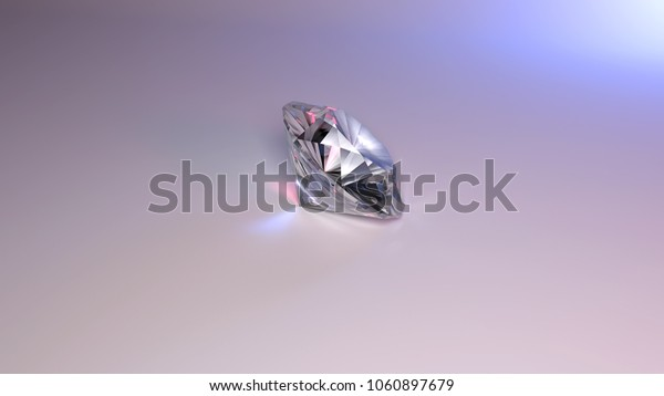 Photorealistic 3d render of one diamond on a light background