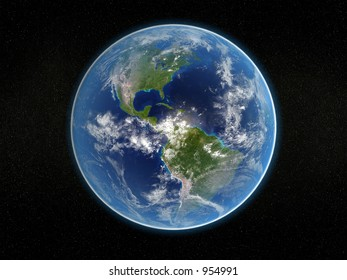 Photorealistic 3D rendering of planet earth viewed from space (America).