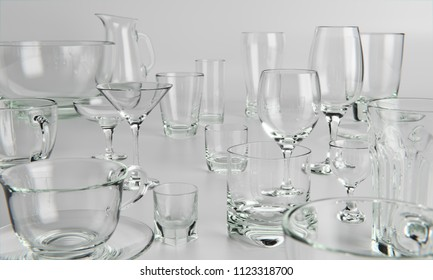 A photo-realistic 3D rendering of a variety of glass tableware
