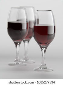A photo-realistic 3D rendering of wine glasses filled with red wine
