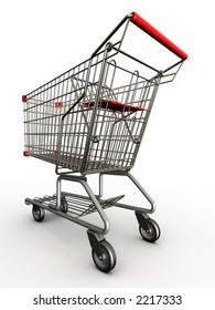Photorealistic 3D shopping cart isolated on white background.