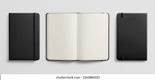Photorealistic black leather notebook mockup on light grey background, 3d illustration.