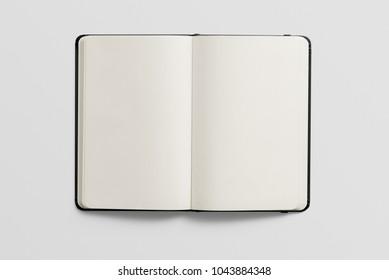 Photorealistic black leather notebook mockup on light grey background, 3d illustration.