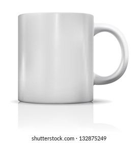 Photorealistic blank white cup with reflection. Mockup of coffee or tea cup