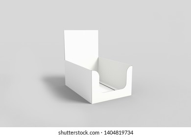 Photorealistic Cardboard Package Box Mockup on light grey background. 3D rendering. Mock-up template ready for your design.Shelf Box.
