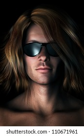 Photo-realistic, digital illustration of cool guy with long messy hair wearing sunglasses.