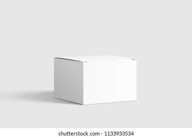 Photorealistic Flat Square Cardboard Package Box Mockup on light grey background. 3D illustration. Mockup template ready for your design.