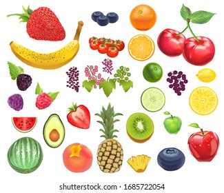 Photo-Realistic Fruit Kit - Isolated and arrangeable for print, web, apps, media