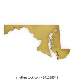 The photorealistic golden shape of Maryland isolated on white (series) . The rendering even has tiny scratches