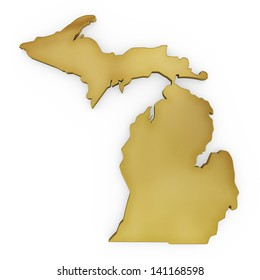 The photorealistic golden shape of Michigan isolated on white (series) . The rendering even has tiny scratches