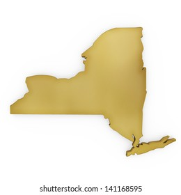 The photorealistic golden shape of New York isolated on white (series) . The rendering even has tiny scratches