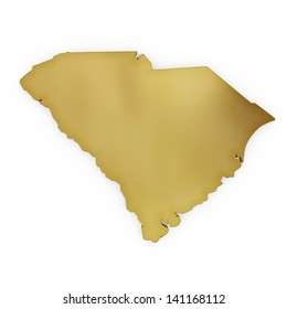 The photorealistic golden shape of South Carolina isolated on white (series) . The rendering even has tiny scratches