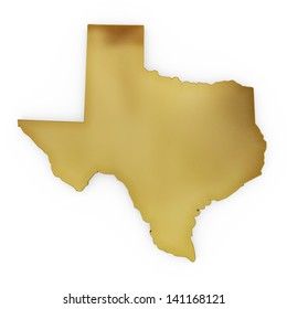 The photorealistic golden shape of Texas isolated on white (series) . The rendering even has tiny scratches