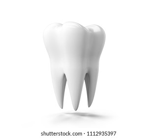 Photo-realistic illustration of a white tooth - isolated icon. Tooth isolated on white background. 3D render. Dental, medicine, health concept.